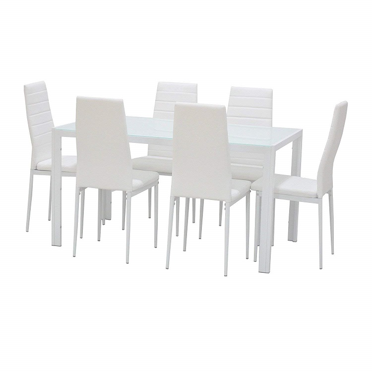 Fast Assembly Black 8mm Thick Tempered Glass Dining Table with 4 Chairs Restaurant Dining Room Furniture