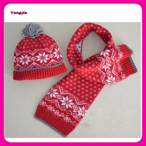 Jacquard Christmas Knitting Kids Winter Hat Scarf Sets Custom Kids