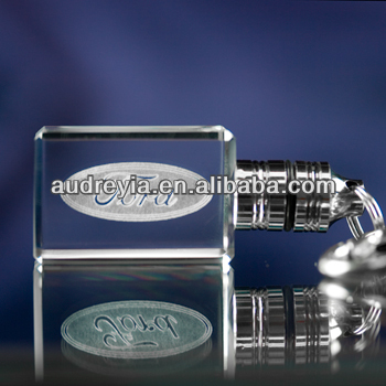 personalizled crystal glass keychain logo engraved