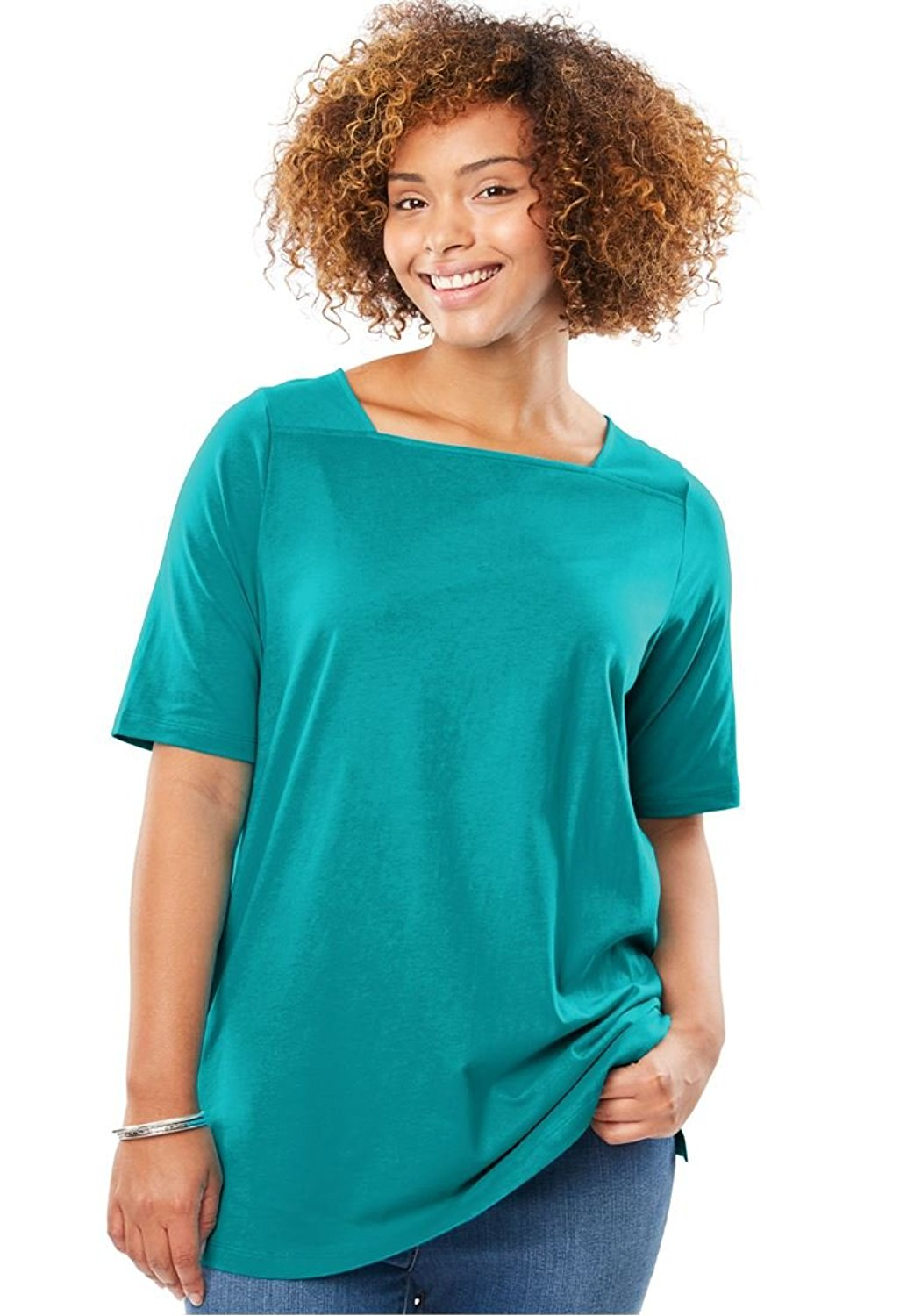 7b6ba9c35af80 Get Quotations · Woman Within Women s Plus Size Perfect Square Neck Tee  Shirt