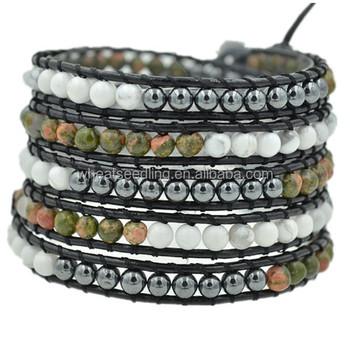 2017 New Design Beaded Jade Best Friend Leather Wrap Bracelet