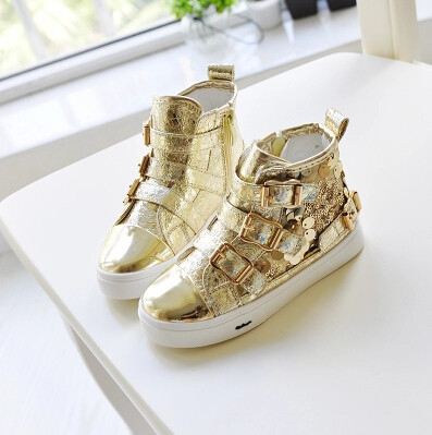 2015 Autumn new fashion Kids Children shoes gold silver sequined high help belt buckle Girls and Boys sport shoes sneakers C-552