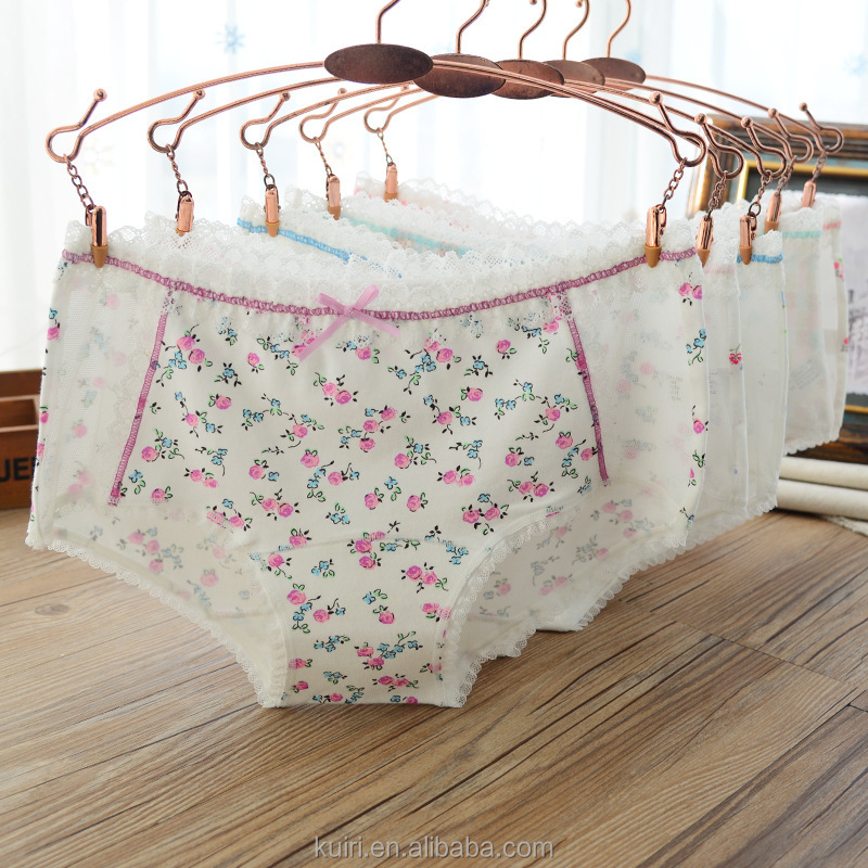 2017 new women cotton underwear flower bowknot Young girls comfortable panties