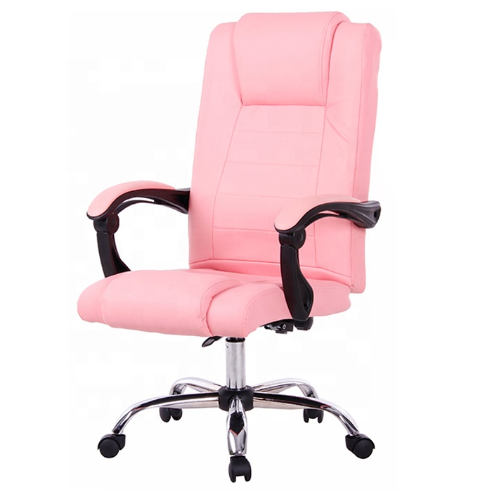 Pink Leather Recliner Office Chair