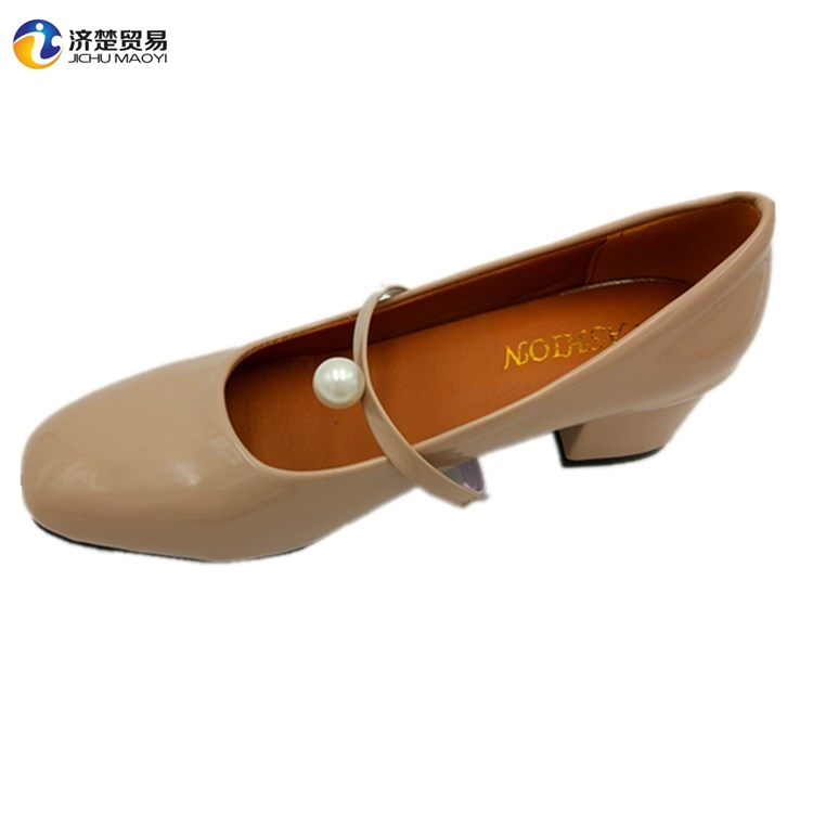 2017 New design Bright skin ladies high heels pearl belt for women party dress shoes