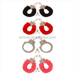 Fluffy Red Black Pink Funny Handcuffs Fancy Dress Sexy Toys Role Play Night Toy Hen SA1319