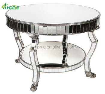 LUXURY ANTIQUE ROUND MIRRORED PEARSON HALL TABLE COFFEE TABLE