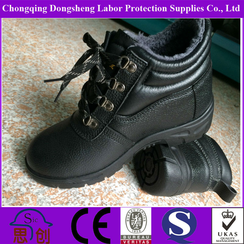 High Cut Warm Safety Boots /safety Shoes In Black Color