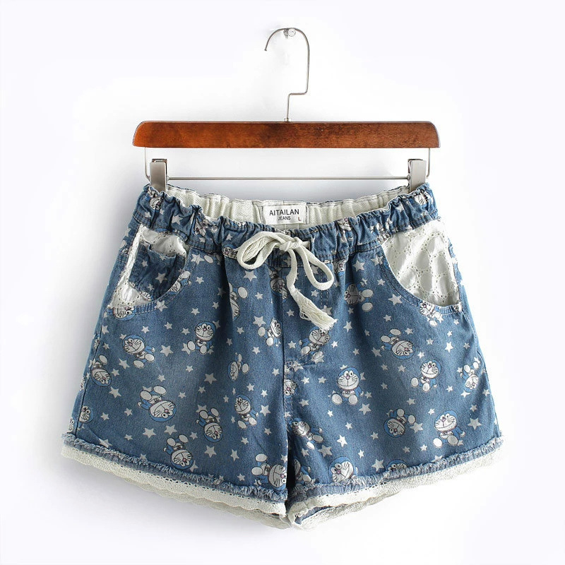 bb2509e05ae5a Women Plus Size Cartoon Printing Demin Shorts Hot Sale Lady Fashion Large  Size Lace Bottom Jeans Shorts Women Hot Jeans Shorts