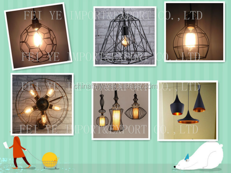 Wood Handle Industrial Pendant Light Rustic Lamp Cage For Edison ...