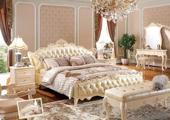 Graceful French Style Solid Wood Flower Hand Carving Genuine Leather  Headboard Double Bed White Color Bedroom