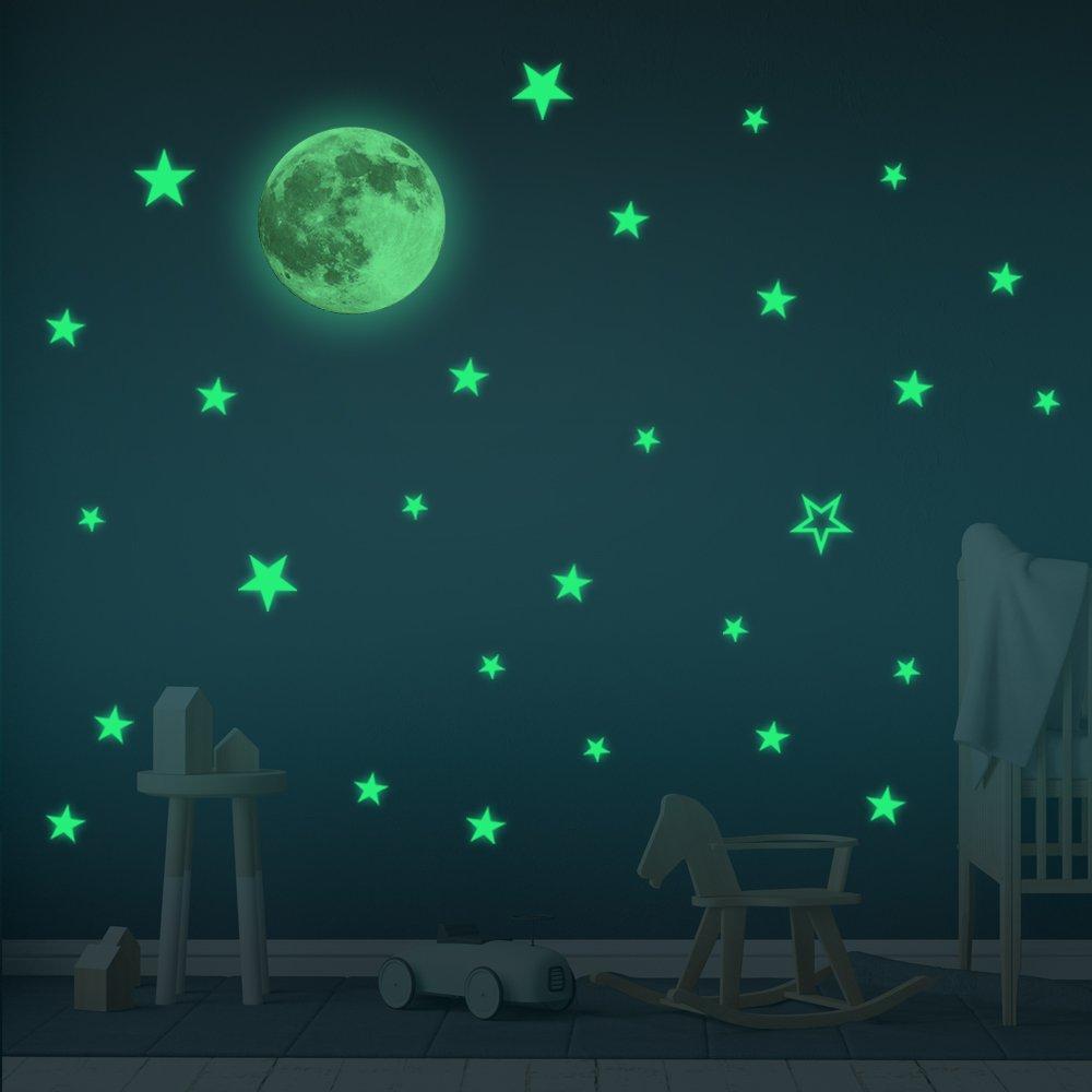 Glow In The Dark Stars Moon Wall Stickers Baby Room Decor Sticker For Kids Boy Home 30 Cm
