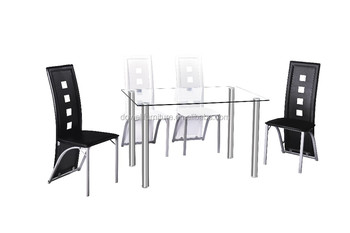 Modern Dining Room Furniture German Style Clear Tempered Glass