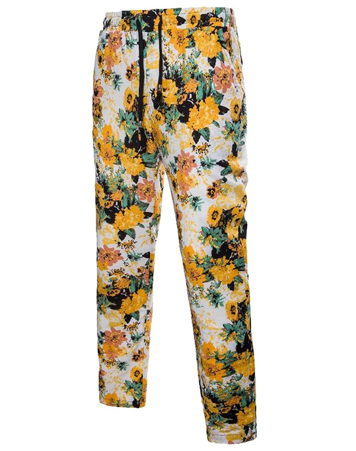 e95126c7c3 Get Quotations · SYTX Mens Stylish Floral Printed Mid Waist Straight Leg  Haren Pants Trousers