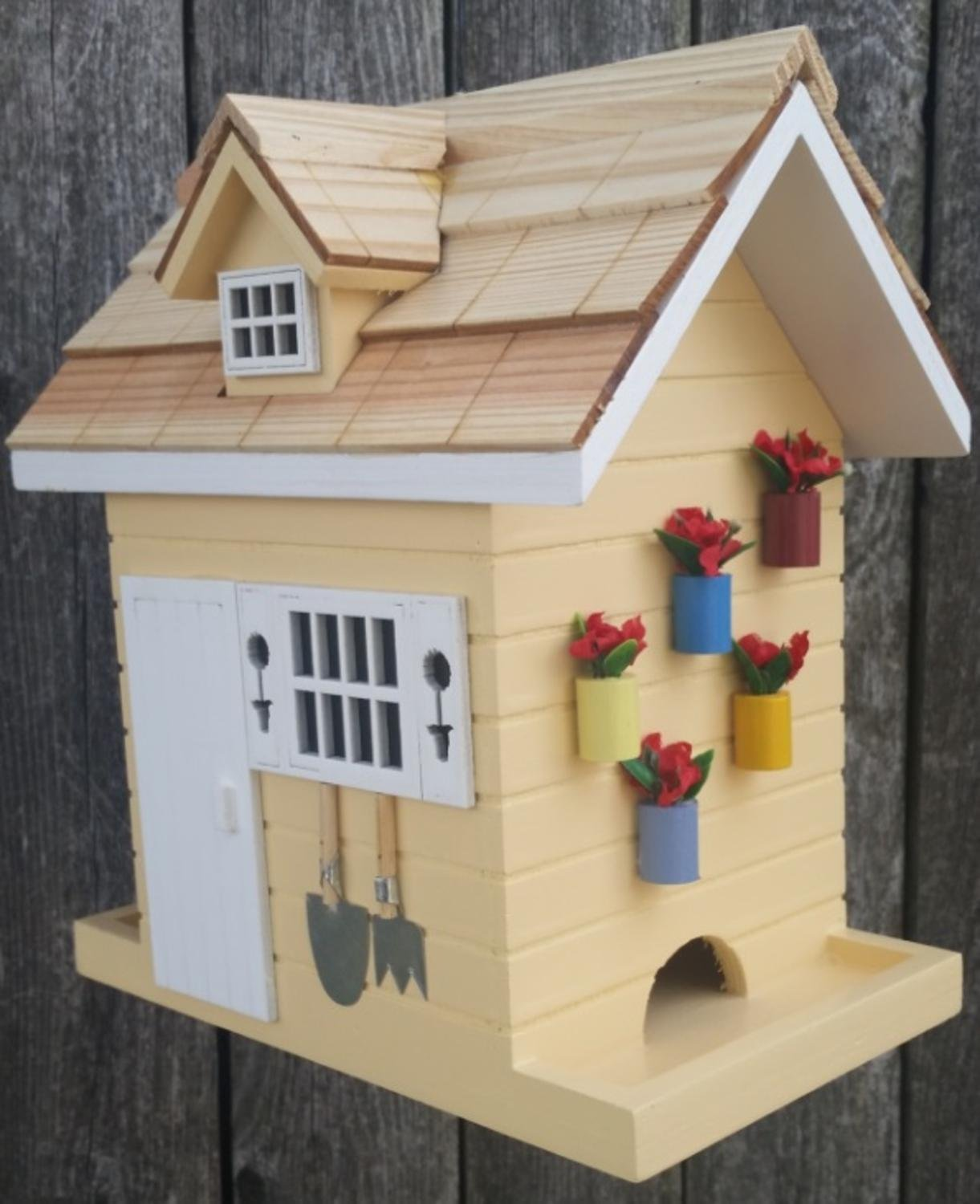 """8"""" Fully Functional Yellow Wood Flower Shed Outdoor Garden Birdhouse"""