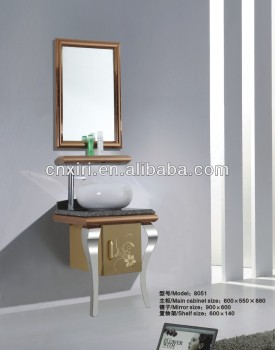 Two legs small cheap single basin shining stainless steel framed mirror bathroom mirror cabinet bathroom cabinet & Two Legs Small Cheap Single Basin Shining Stainless Steel Framed ...