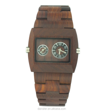 Double Movement Square Case Customized Red Sandal Wooden Watch