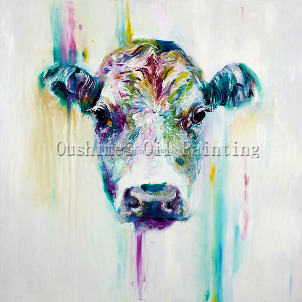 X Series High Quality Rainbow Color Cattle Oil Painting On Canvas Handmade Cow Portrait Oil Painting For Animal Fans Unique Gift