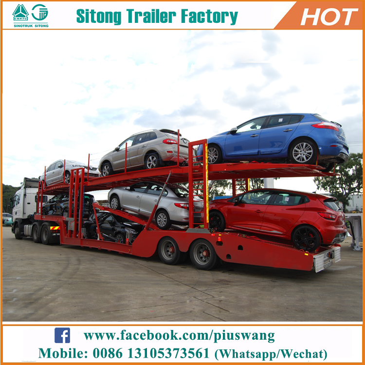 2017 Liangshan OEM brand transport car semi trailer double deck car carrier trailer for sale
