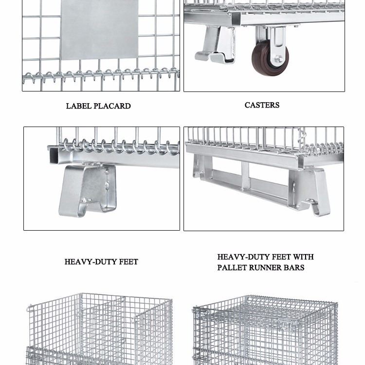 Metal Wire Dump Bin Collapsible Pallet Cage For Pallet Racking With ...