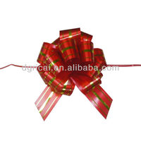 red gift bow, pom pom pull bow