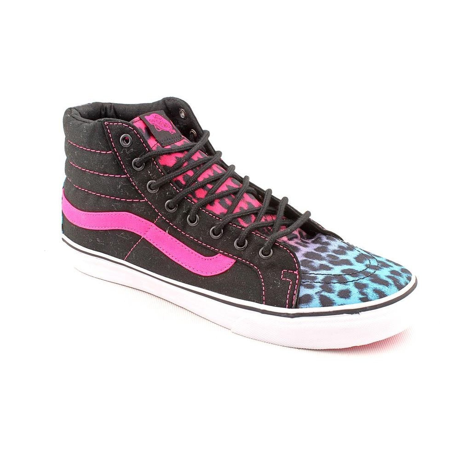 c9eddab00732c7 Get Quotations · Vans Womens Sk8-Hi Slim Leopard Magenta Blue Black  Skateboarding Shoes 5 B(M