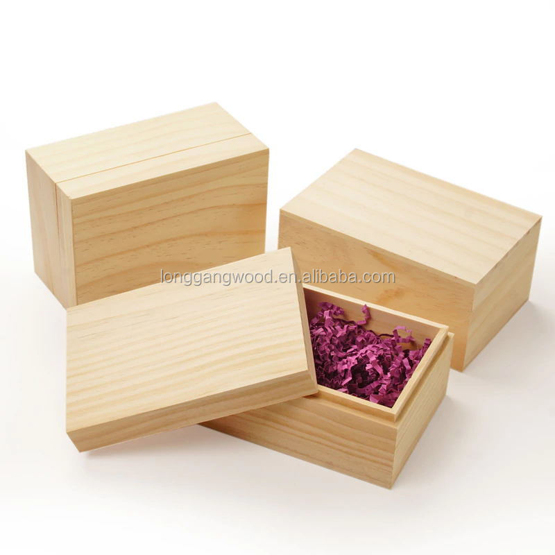 unfinished pine wood rectangular cap top wooden gift box