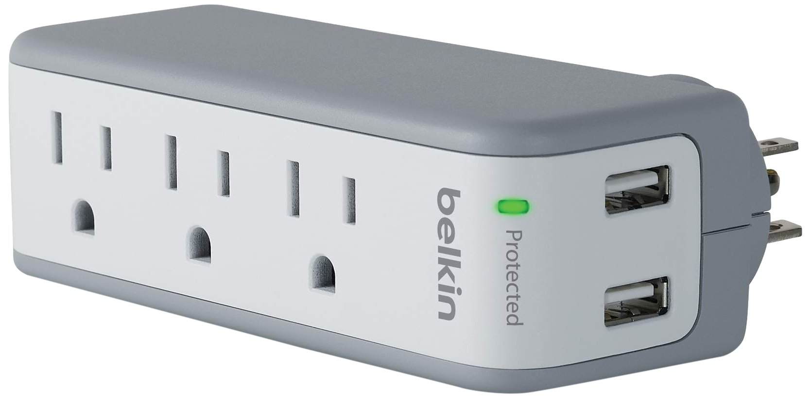 Belkin SurgePlus USB Swivel Surge Protector and Charger (Power strip with 3 AC Outlets, 2 USB Ports 2.1 AMP/10 Watt) and rotating plug