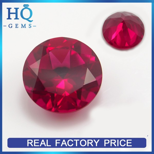 Synthetic Red Round Original Ruby Rough Stone