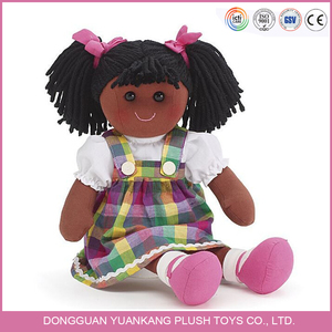 Custom wholesale life size soft plush American black rag dolls