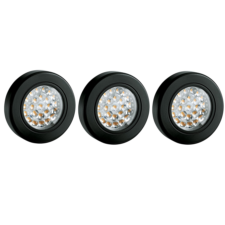 Tresco Lighting L-3EQPWBL-KIT 2.5W EquiLine Puck Surface Mount Ring Deluxe Kit (Pack of 3), Warm White/Black