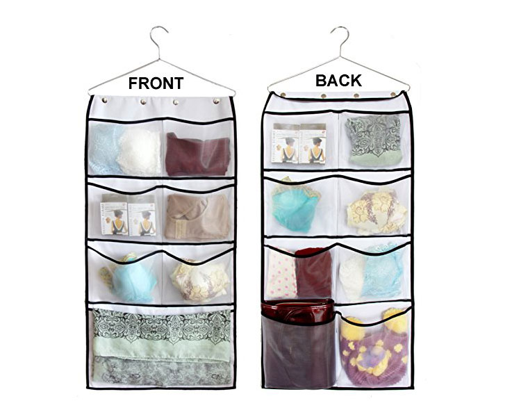 Durable Hanging Wardrobe Closet Double Sided Bra Stocking Clothes Socks Organizer with 15 Large Mesh Pockets