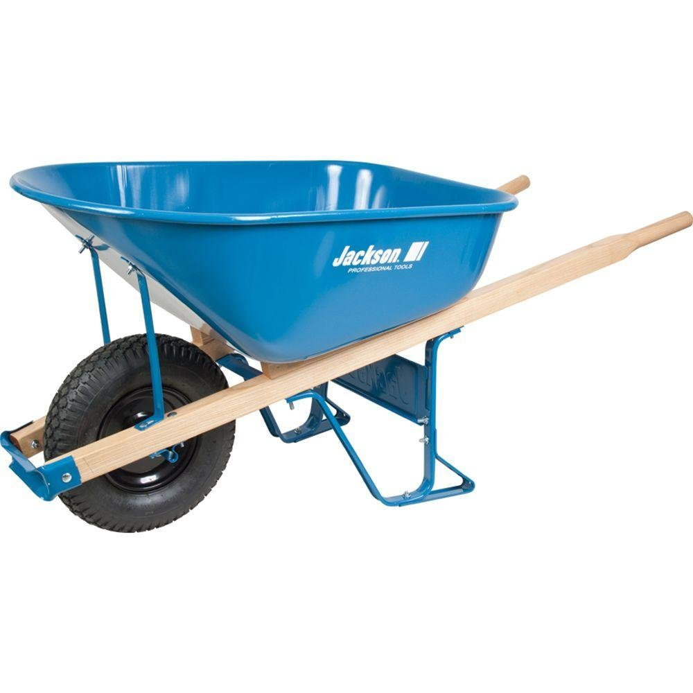 Steel Wheelbarrow 6 Cu. Ft., Heavy Duty Steel Trays, Professional Grade Steel Undercarriages and Strong Hardwood Handles