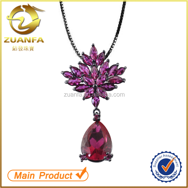wholesale gold plated glass stone zirconia sterling silver ruby pendant