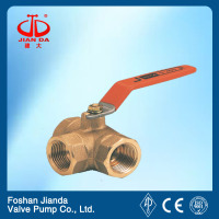 Kitz type brass 3 way female ball valve