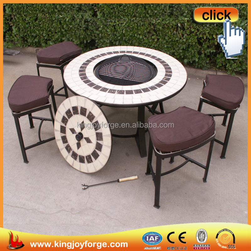 Decorative tile fire table outdoor/ mosaic firepits