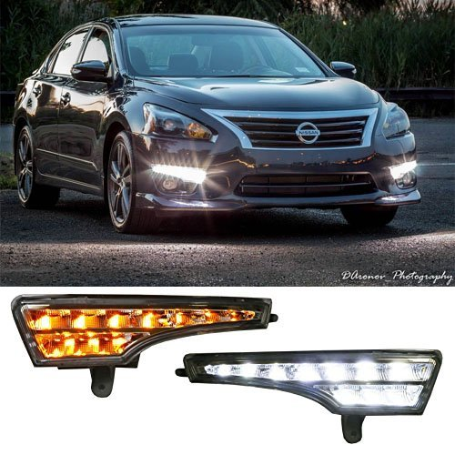 iJDMTOY Exact Fit High Power Xenon White/Amber Yellow Switchback LED Daytime Running Lights/Turn Signal Lamps For 2013-2015 Nissan Altima Sedan