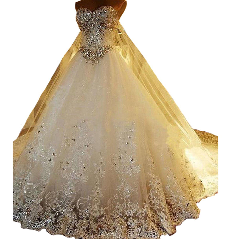 Yuxin Luxury Sweetheart Crystal Beaded Wedding Dress 2018 Princess Long Train Lace Ball Gown Wedding Dress for Bride