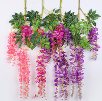 Wholesale wall hanging rattan decoration flower vine artificial wisteria flower