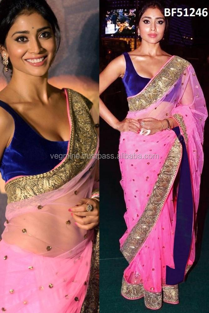 fba11e9b272655 Shriya Saranpink And Blue Valvate Saree - Buy Pink And Blue Sarees ...