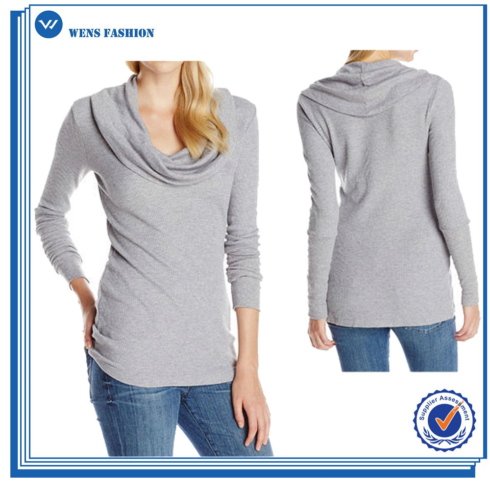 Women Heather Grey Cowl Neck Long Sleeve Blouse Tops