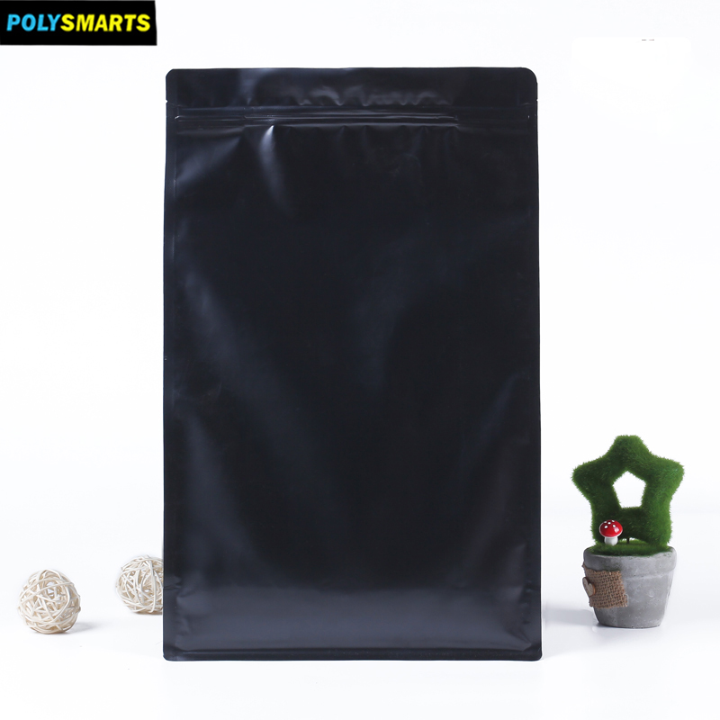 Matte finished aluminum foil zip lock pouch stand up empty tea bag heat seal packing with flat bottom
