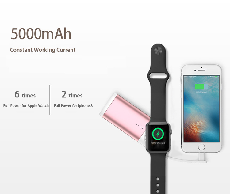 magnetic induction power bank wireless charger for watch, mobile phone