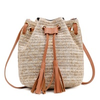 2019 Ins New Fashion Girls Natural Straw Bucket Beach Bag Straw Crossbody Bag Small Rope Single Shoulder Bags