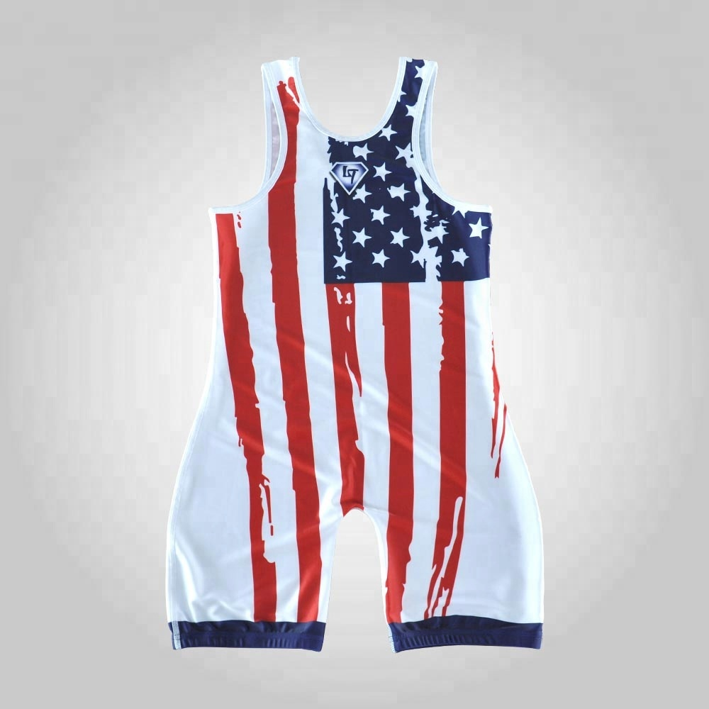 Sublimation high cut wrestling singlet  tan and maroon boys wrestling uniforms