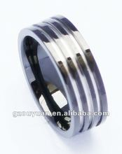 New fashion style black tungsten ring with channel