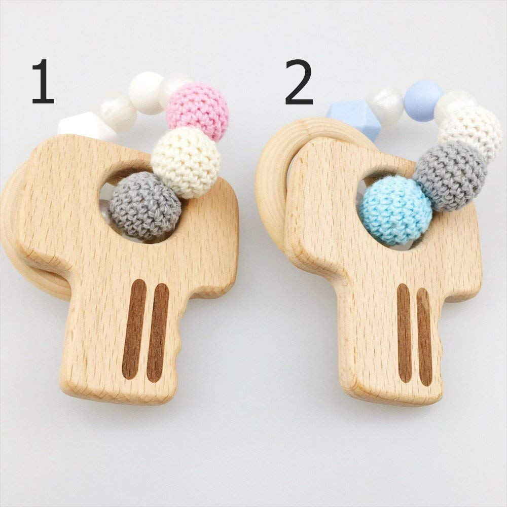 Baby Nursing Accessories Wooden Keys Crochet Bead Chew Silicone Bead Play Gym Bracelets Toys For Baby