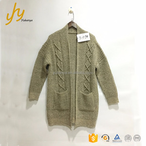 Guangzhou Manufacturer Low Price Grey Wear Rope Coat With Pocket Nice Sweaters