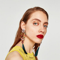 KM 2018 Trending Products Wholesale Factory Colorful Bohemian Thread Tassel Earrings Long Pendant Crystal Fringe Earrings