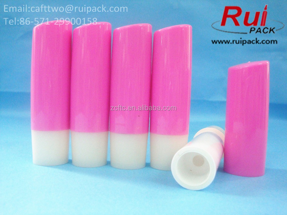 Peach red round lip stick tubes with sloping top cover 4.8g, plastic lip balm containers